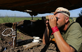 A militia fighter in east Ukraine