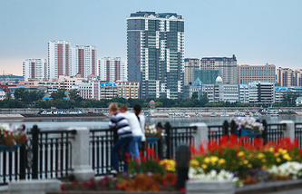 View of the Chinese city of Heihe from the Amur river embankment in Russian Blagoveshchensk