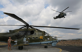Russian combat helicopters in Syria