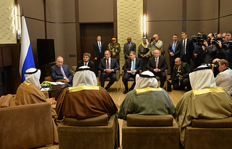 Russia's President Vladimir Putin during a meeting with Sabah Al-Ahmad Al-Jaber Al-Sabah, the Emir of the State of Kuwait
