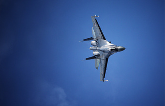 A Sukhoi Su-35 fighter jet during a demonstration flight at the 12th MAKS International Aviation and Space Salon in Zhukovsky, Russia.
