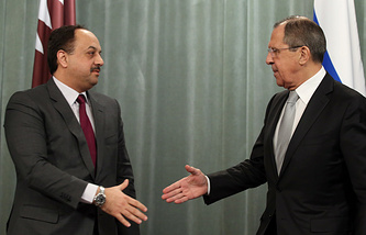 Qatari and Russian Foreign Ministers, Khaled bin Mohammad Al Attiyah and Sergey Lavrov