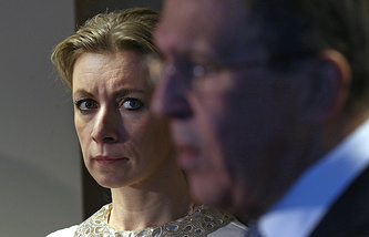 Russian Foreign Ministry official spokesperson Maria Zakharova and Russian Foreign Minister Sergey Lavrov