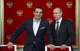 Greek Prime Minister Alexis Tsipras and Russian President Vladimir Putin (archive)