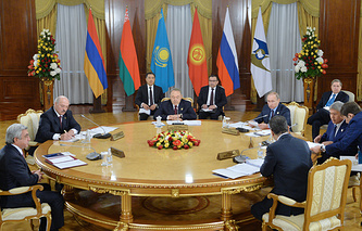 Leaders of the member countries of the Eurasian Economic Union (EAEU) in Astana, Kazakhstan