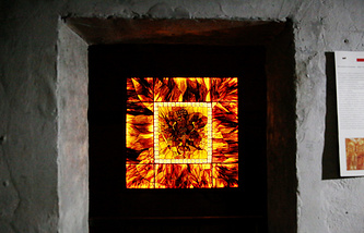 An 'Amber Room' model fragment on display at the World War II Museum in Mamerki