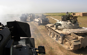 Kurdish security forces preparing to attack Islamic State extremists outside the city of Kirkuk, Iraq
