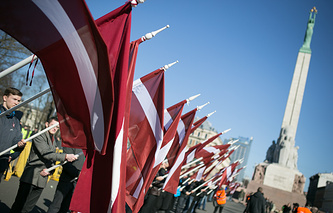 A march of Latvian Waffen-SS unit veterans and their supporters in central Riga