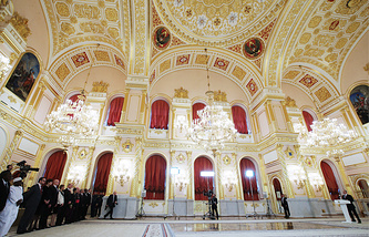 Russia's President Vladimir Putin speaks at a ceremony of presenting credentials by foreign ambassadors