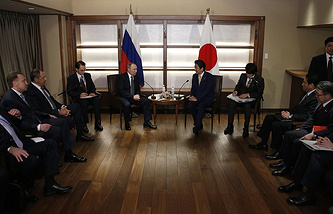 Russia's President Vladimir Putin and Japan's Prime Minister Shinzo Abe in Nagato, Japan, 2016