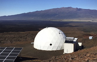 Dome called Hawaii Space Exploration Analog and Simulation, located 8,200 feet above sea level on Mauna Loa on the island of Hawaii