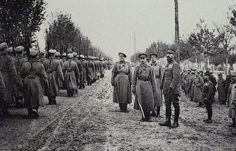 Russian troops parading at camp de Mailly during WWI, France, 1916