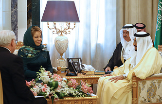 Russian Federation Council Chairperson Valentina Matvienko and King Salman bin Abdulaziz Al Saud of Saudi Arabia