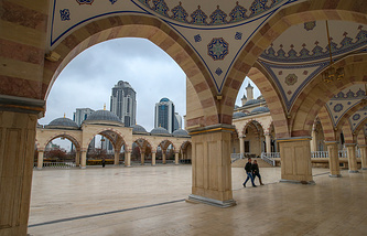 View of Grozny City business centre from the Heart of Chechnya mosque