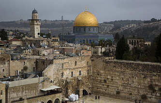 A view of the Western Wall and the Dome of the Rock in Jerusalem's Old City