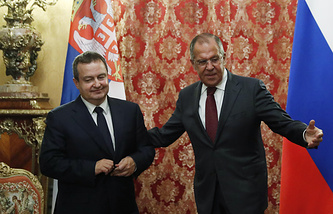 Serbia's Foreign Minister Ivica Dacic and Russian Foreign Minister Sergey Lavrov