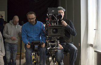 "Andrei Zvyagintsev seen during the filming of ""Loveless"""