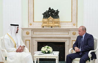 Crown Prince of Abu Dhabi Sheikh Mohammed bin Zayed Al-Nahyan and Russian President Vladimir Putin