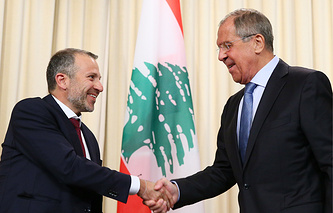Lebanese Foreign Minister Gebran Bassil and Russian Foreign Minister Sergey Lavrov