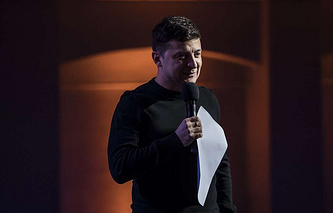 Ukraine's presidential hopeful, showman Vladimir Zelensky