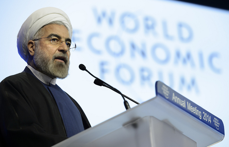 Iran's President Hassan Rouhani at the World Economic Forum in Davos