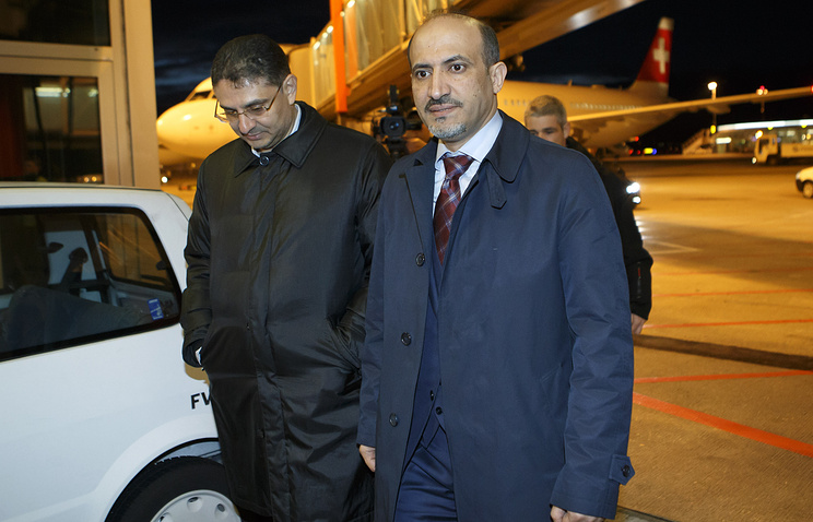 President of the Syrian National Coalition (SNC) Ahmed al-Jarba (R) and General Secretary of the SNC Badr Jamous (L)