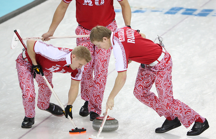 Russian curlers during the match with Great Britain