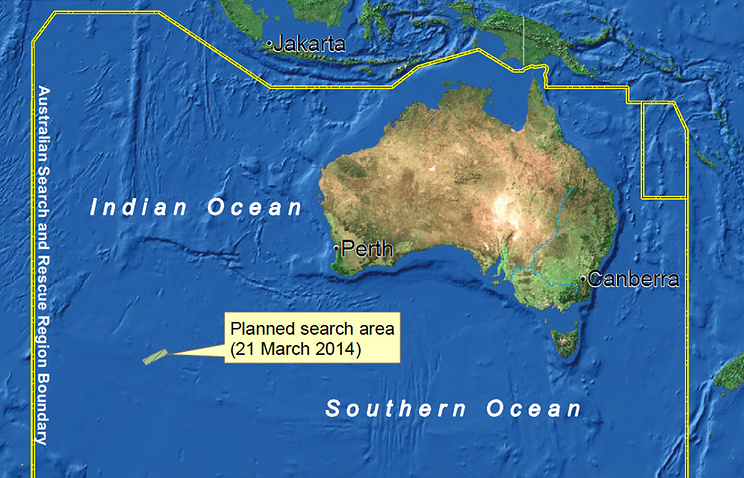 Planned map of the search area for missing Malaysia Airlines flight MH370 conducted by AMSA
