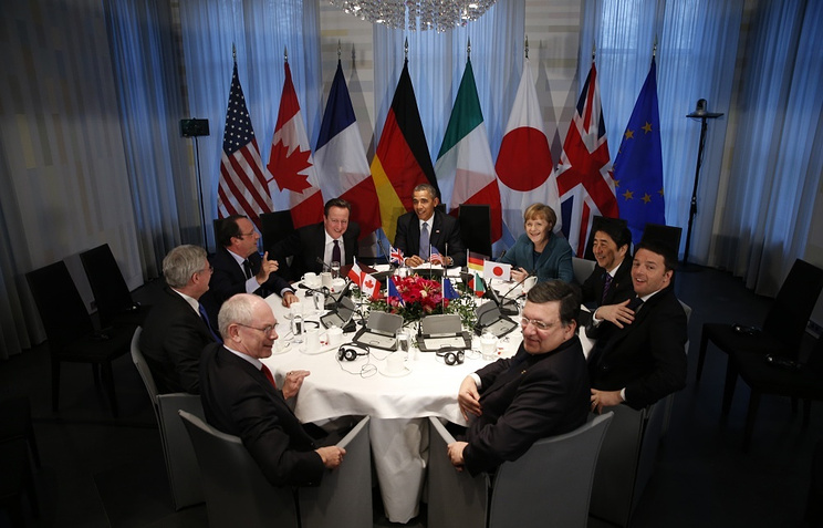 Clockwise from bottom left: Herman Van Rompuy, Stephen Harper, Francois Hollande, David Cameron, Barack Obama, Angela Merkel, Shinzo Abe, Matteo Renzi and Jose Manuel Barroso in The Hague