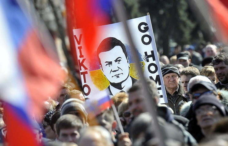 A poster picturing Viktor Yanukovych seen during a pro-Russian demonstration in Ukraine (archive)