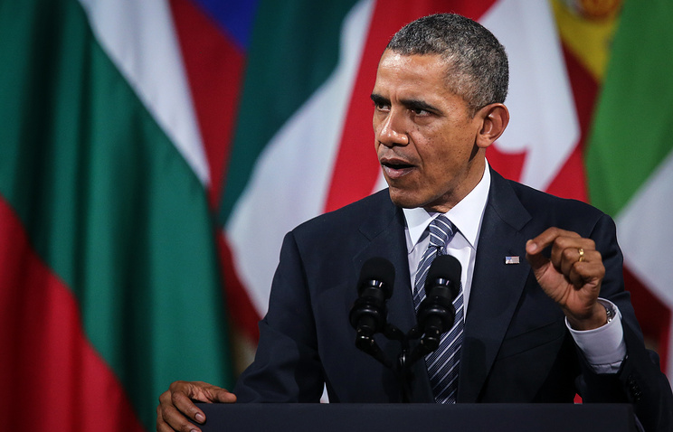 US President Barack Obama gives a speech in Brussels at the end of a 24-hour trip in Belgium
