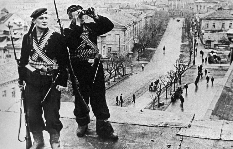 Soviet sailors in liberated city of Kerch, 1944