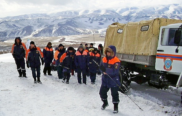 Rescue workers in the mountains