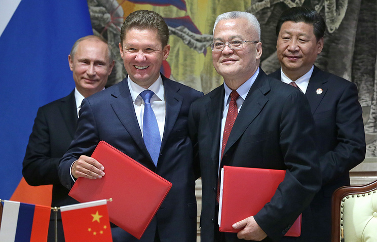 Russia's president Vladimir Putin, Gazprom CEO Alexei Miller, China National Petroleum Corporation (CNPC) chairman Zhou Jiping and China's president Xi Jinping