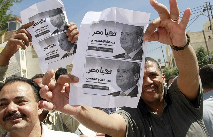 A rally in support of el-Sisi