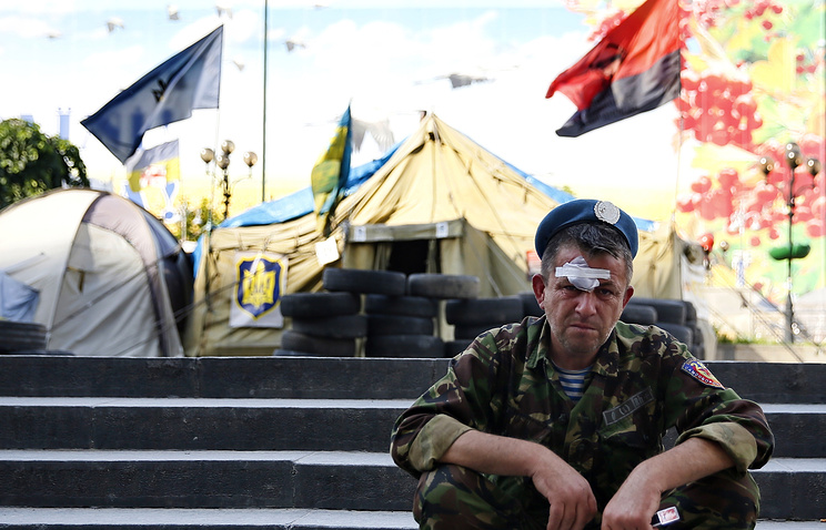 A Maidan activist seen on Independence Square in Kiev