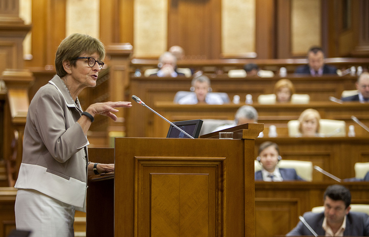 Anne Brasseur, the new President of the Parliamentary Assembly of the Council of Europe (PACE), delivers a speech to the members of the Moldovan Parliament