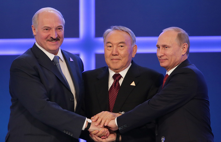 Presidents of Belarus, Kazakhstan and Russia: Alexander Lukashenko, Nursultan Nazarbayev and Vladimir Putin