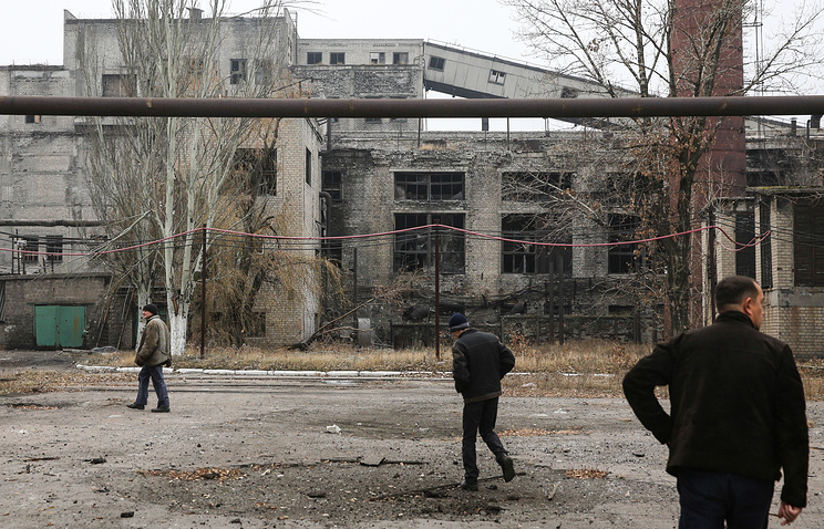 Building destroyed in a shelling attack in Donetsk