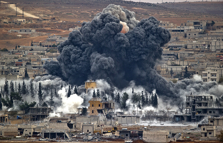 Syrian city of Kobani after the airstrike by the US led coalition