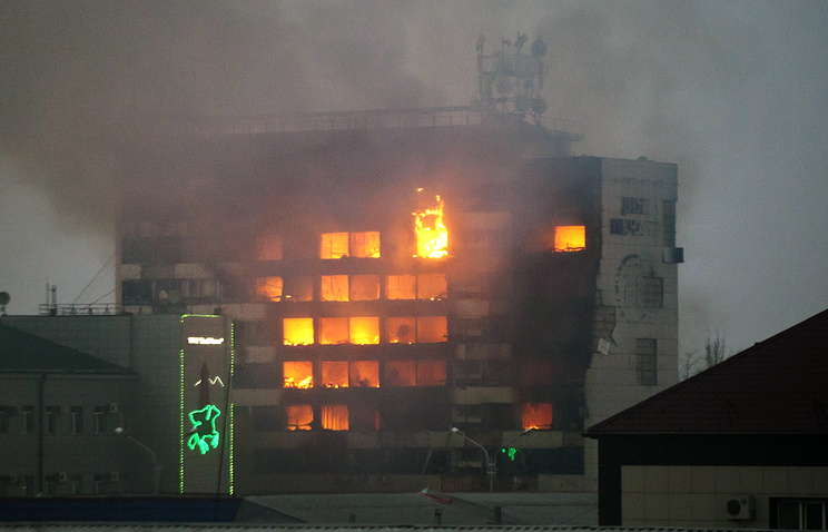 Press House in Chechnya's capital Grozny on fire