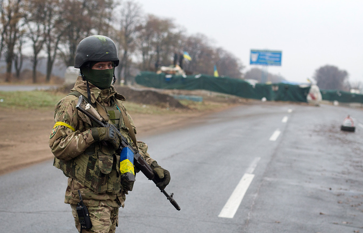 A Ukrainian serviceman in the conflict zone