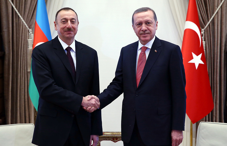 President of Azerbaijan Ilham Aliyev and Turkish president Recep Tayyip Erdogan