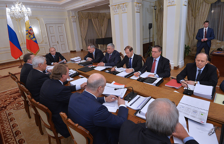 Russian President Vladimir Putin at a meeting of the Military-Industrial Commission