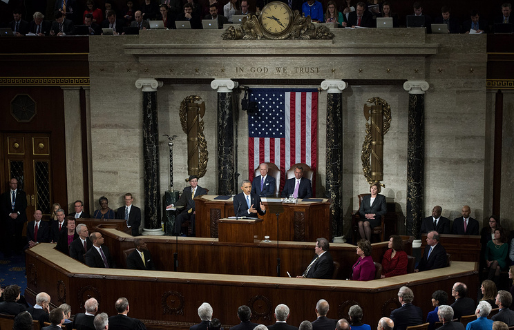 US President Barack Obama delivering his State of the Union address