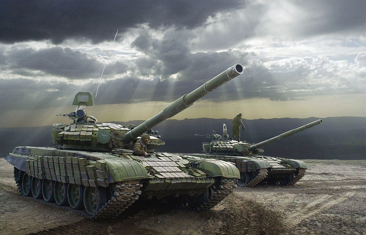 Russian tanks during military exercises held jointly with Tajik Defence Ministry's troops