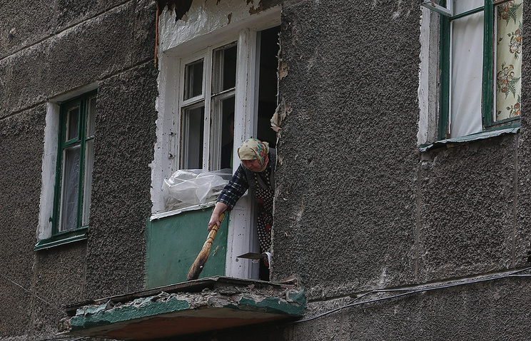 Damaged house in the eastern Ukrainian city of Debaltsevo (archive)