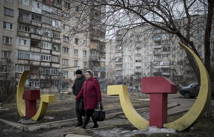 Soviet-era hammer and sickle sculptures seen in Mariupol, south-eastern Ukraine