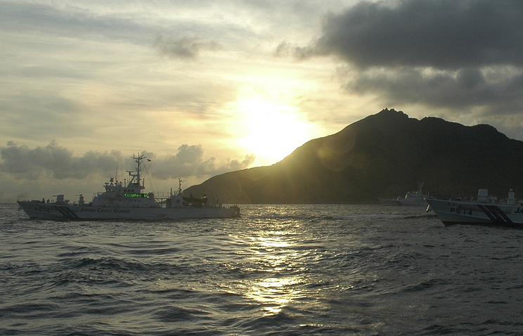Japanese Coast Guard vessels near one of Senkaku Islands