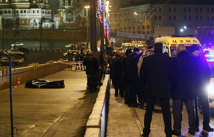 A site of Boris Nemtsov's murder in downtown Moscow
